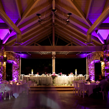 Purple lighting for wedding