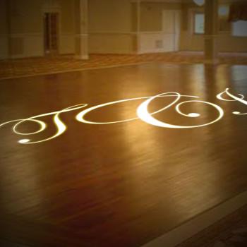 Monogram lighting on dance floor
